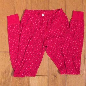 American Apparel red rose thermal legging pants